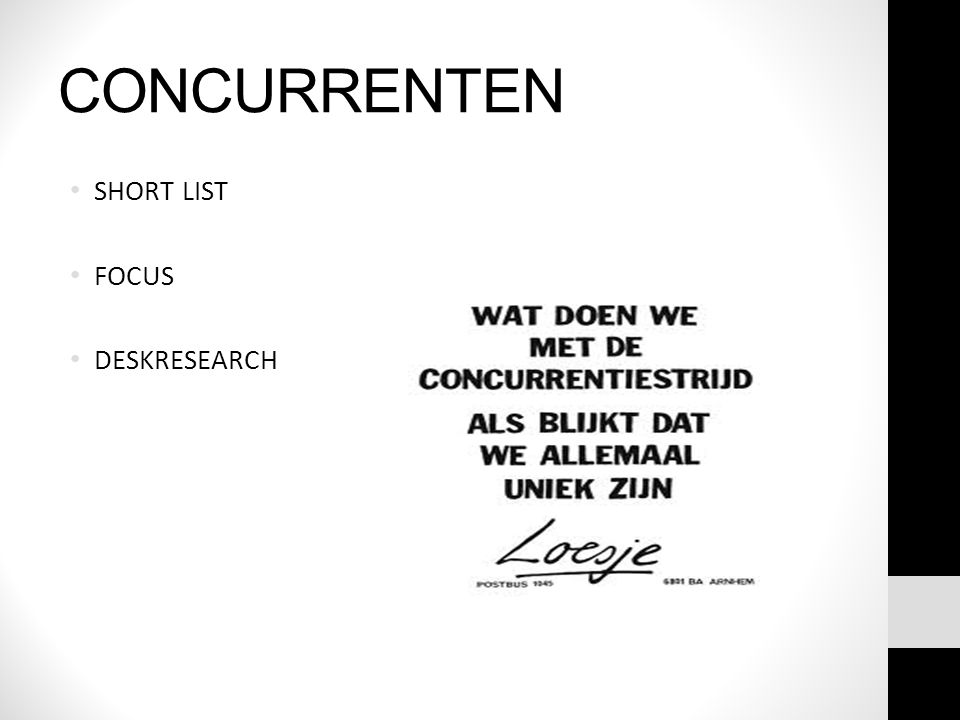 CONCURRENTEN SHORT LIST FOCUS DESKRESEARCH