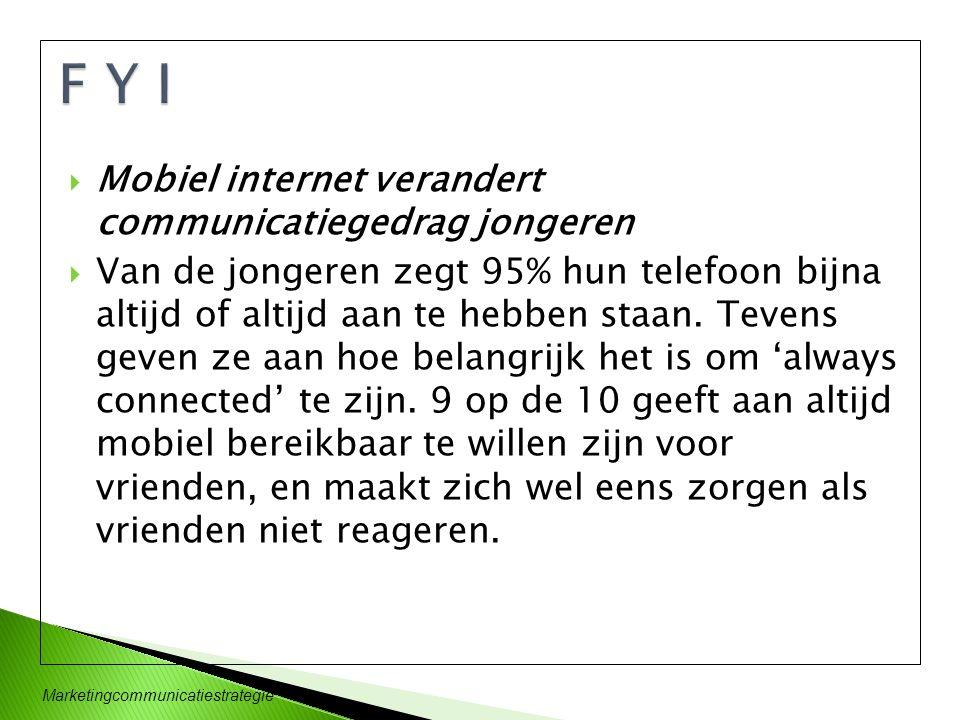 F Y I Mobiel internet verandert communicatiegedrag jongeren