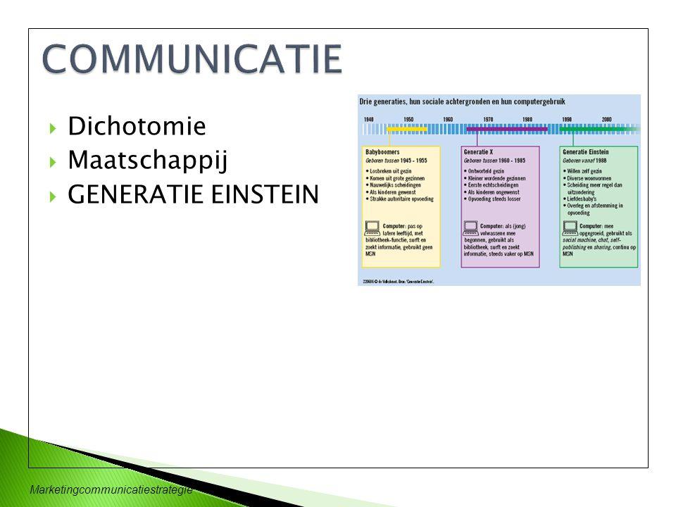 COMMUNICATIE Dichotomie Maatschappij GENERATIE EINSTEIN