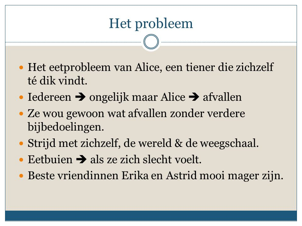 Het probleem Het eetprobleem van Alice, een tiener die zichzelf té dik vindt. Iedereen  ongelijk maar Alice  afvallen.