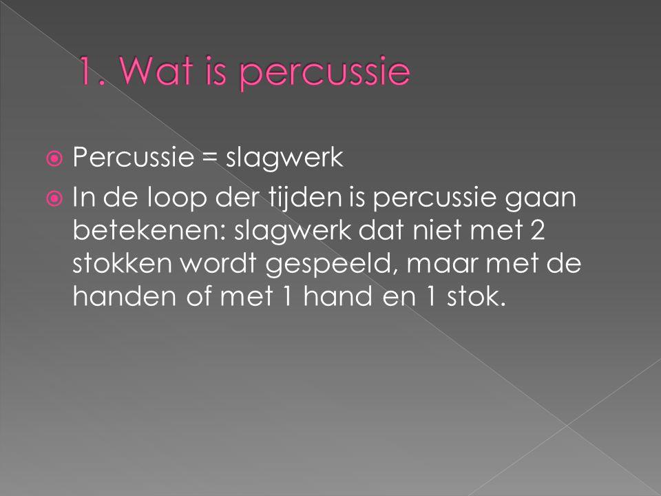 1. Wat is percussie Percussie = slagwerk