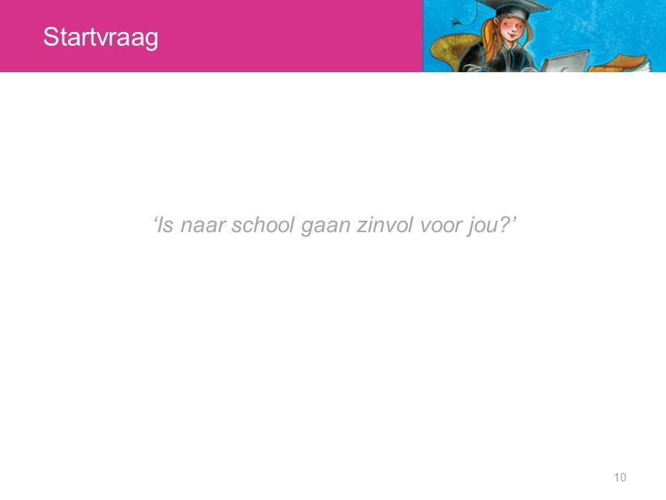 'Is naar school gaan zinvol voor jou '