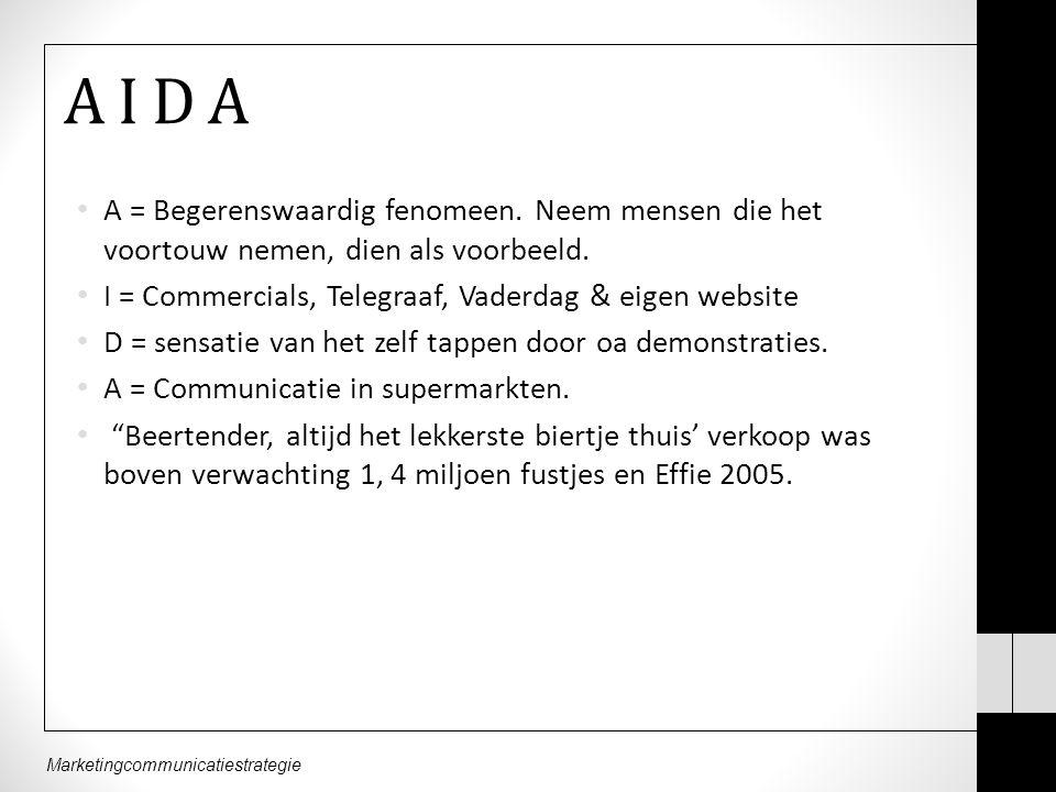 A I D A A = Begerenswaardig fenomeen. Neem mensen die het voortouw nemen, dien als voorbeeld. I = Commercials, Telegraaf, Vaderdag & eigen website.