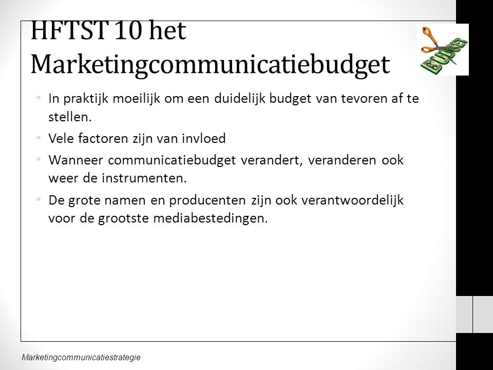 HFTST 10 het Marketingcommunicatiebudget