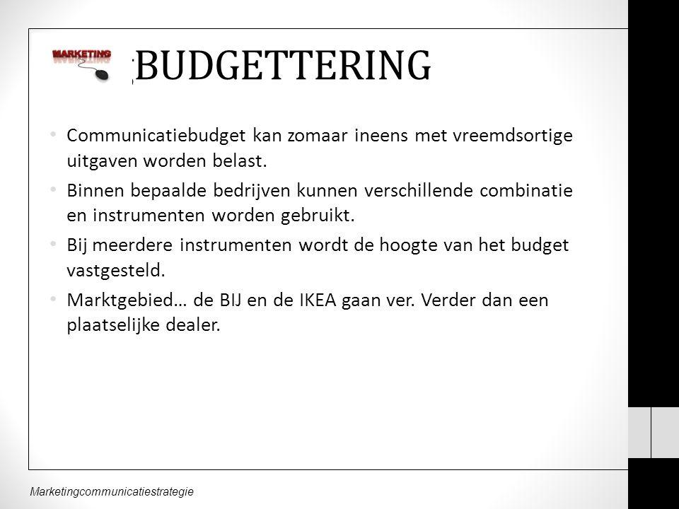 BudgBUDGETTERING Communicatiebudget kan zomaar ineens met vreemdsortige uitgaven worden belast.