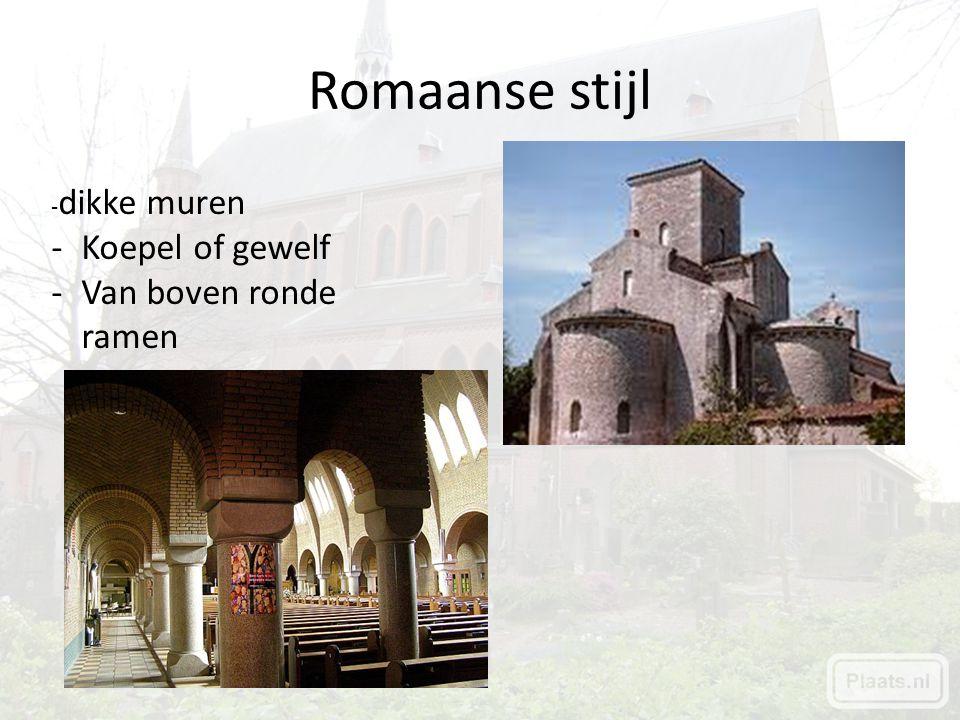 Romaanse stijl -dikke muren Koepel of gewelf Van boven ronde ramen