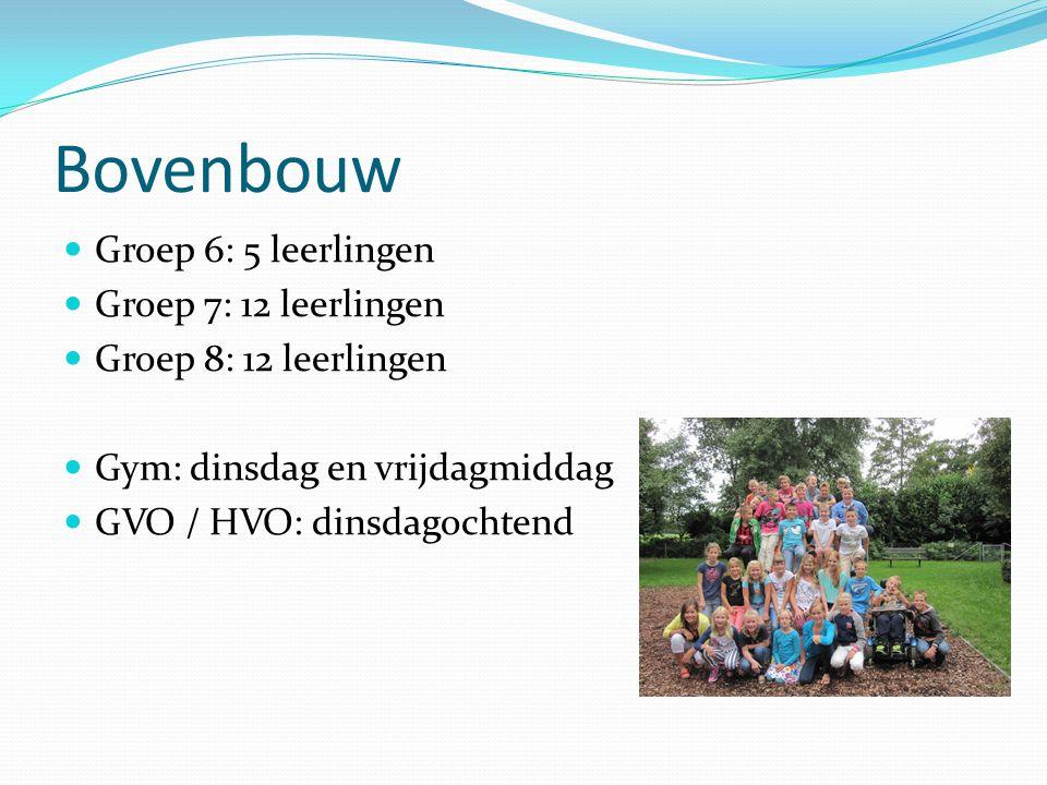 Bovenbouw Groep 6: 5 leerlingen Groep 7: 12 leerlingen