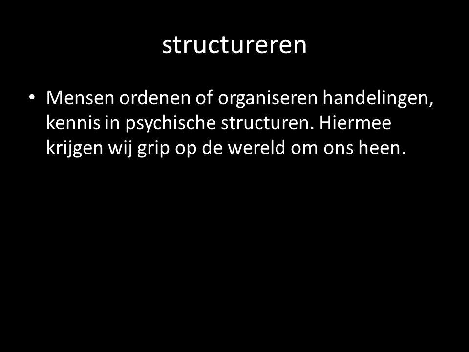 structureren Mensen ordenen of organiseren handelingen, kennis in psychische structuren.