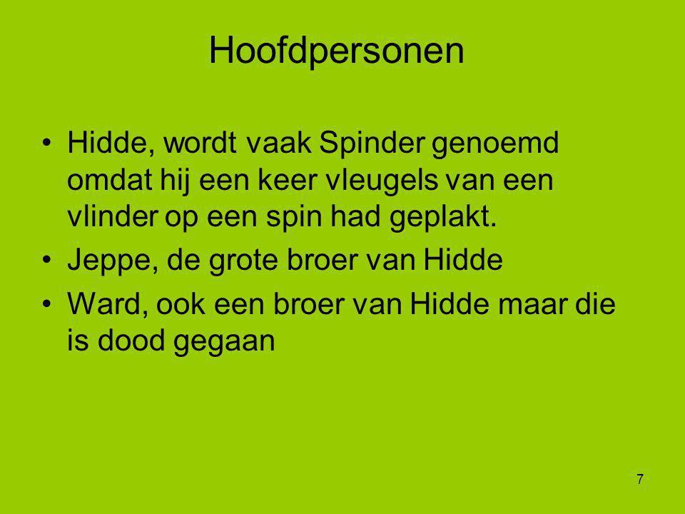 Hoofdpersonen Hidde, wordt vaak Spinder genoemd omdat hij een keer vleugels van een vlinder op een spin had geplakt.