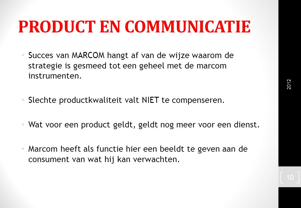 PRODUCT EN COMMUNICATIE