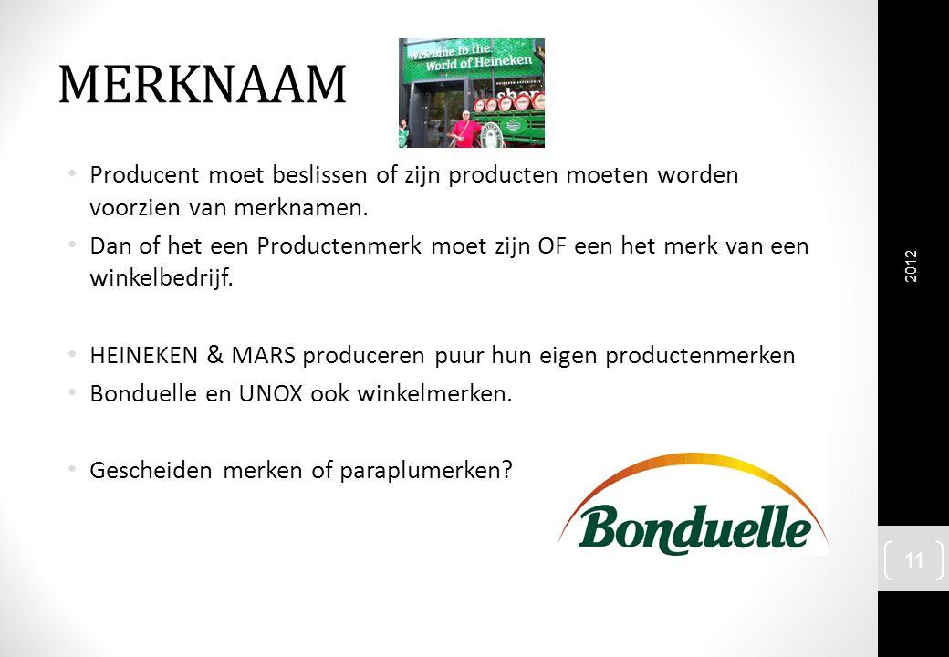 MERKNAAM Producent moet beslissen of zijn producten moeten worden voorzien van merknamen.