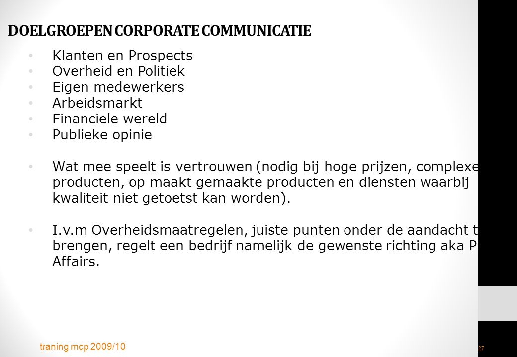 DOELGROEPEN CORPORATE COMMUNICATIE