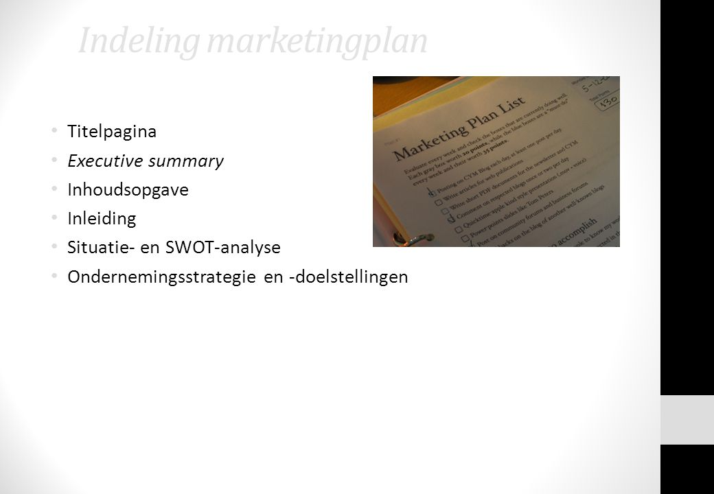 Indeling marketingplan
