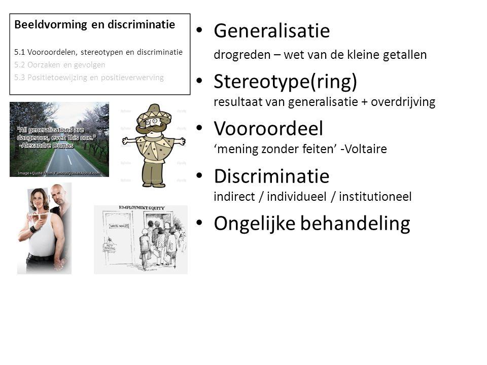 Stereotype(ring) resultaat van generalisatie + overdrijving