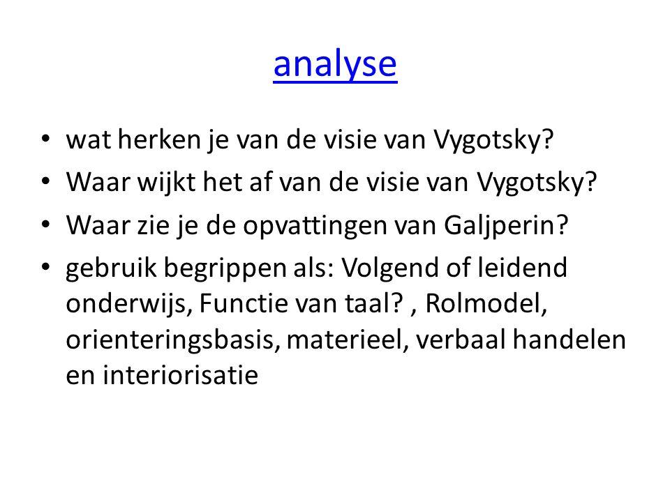 analyse wat herken je van de visie van Vygotsky