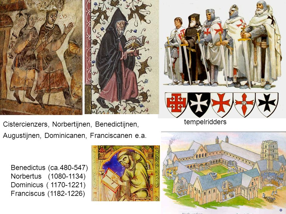 tempelridders Cistercienzers, Norbertijnen, Benedictijnen, Augustijnen, Dominicanen, Franciscanen e.a.