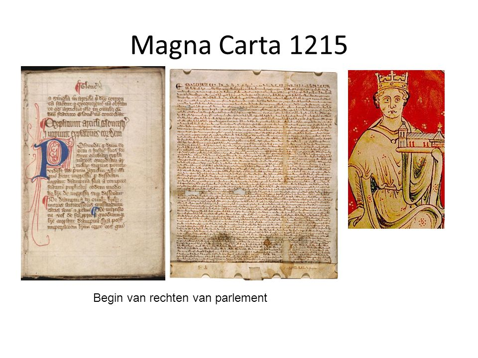 Magna Carta 1215 Begin van rechten van parlement