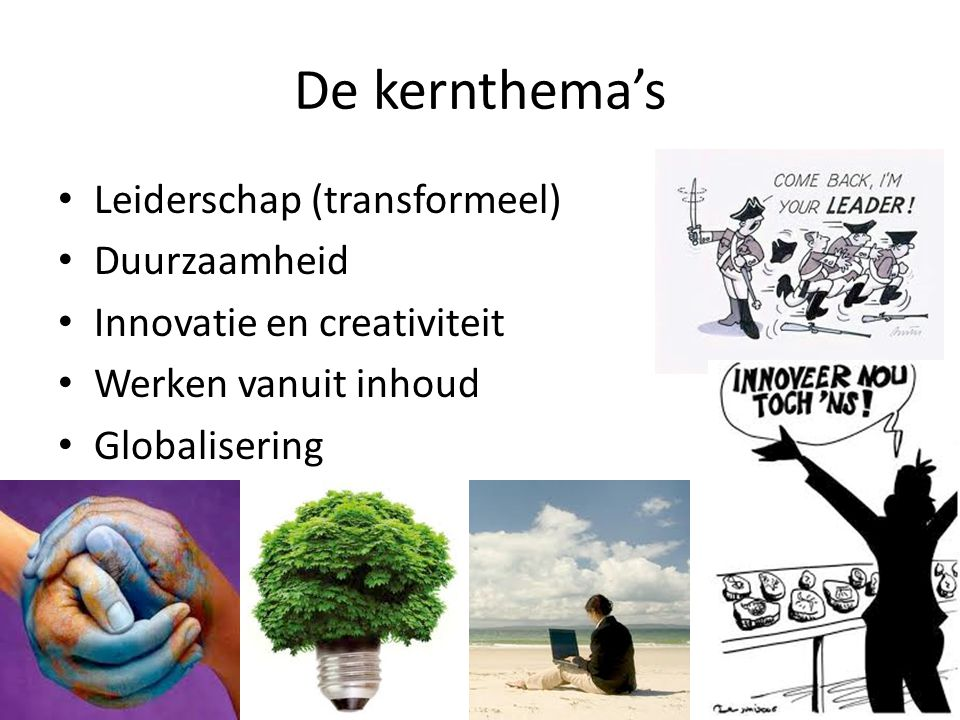 De kernthema's Leiderschap (transformeel) Duurzaamheid