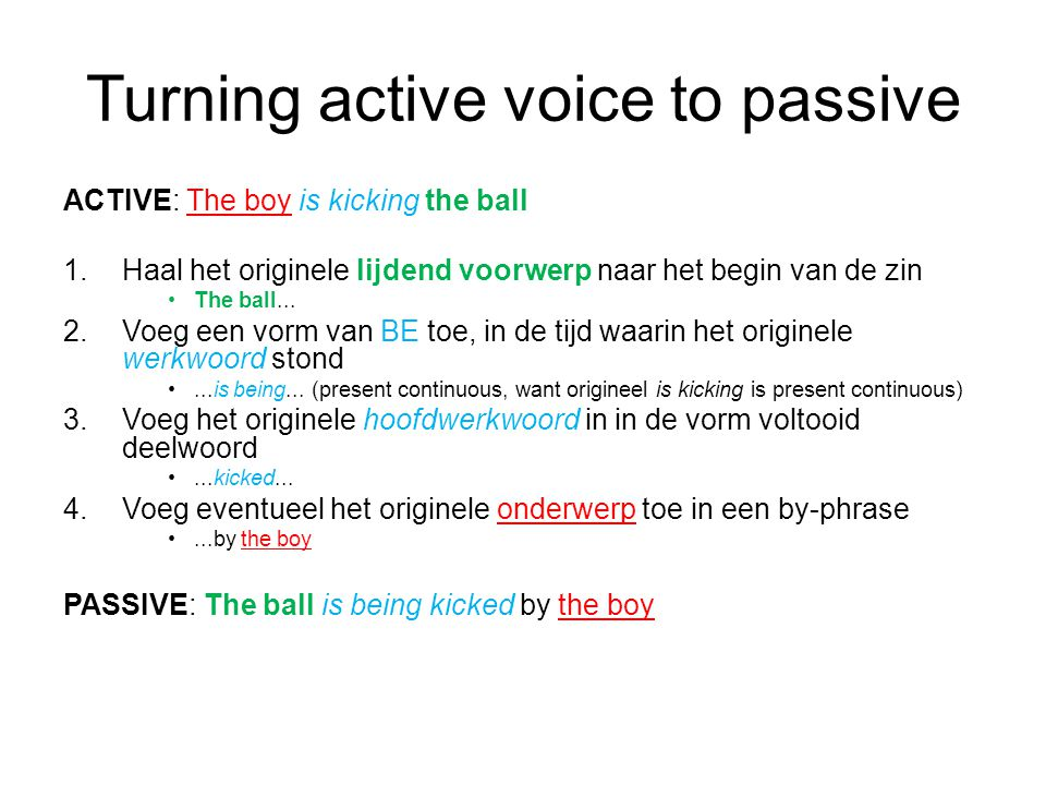 Turning active voice to passive