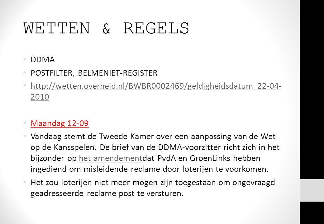 WETTEN & REGELS DDMA POSTFILTER, BELMENIET-REGISTER