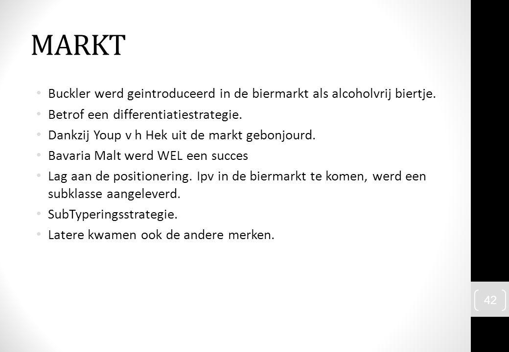 MARKT Buckler werd geintroduceerd in de biermarkt als alcoholvrij biertje. Betrof een differentiatiestrategie.