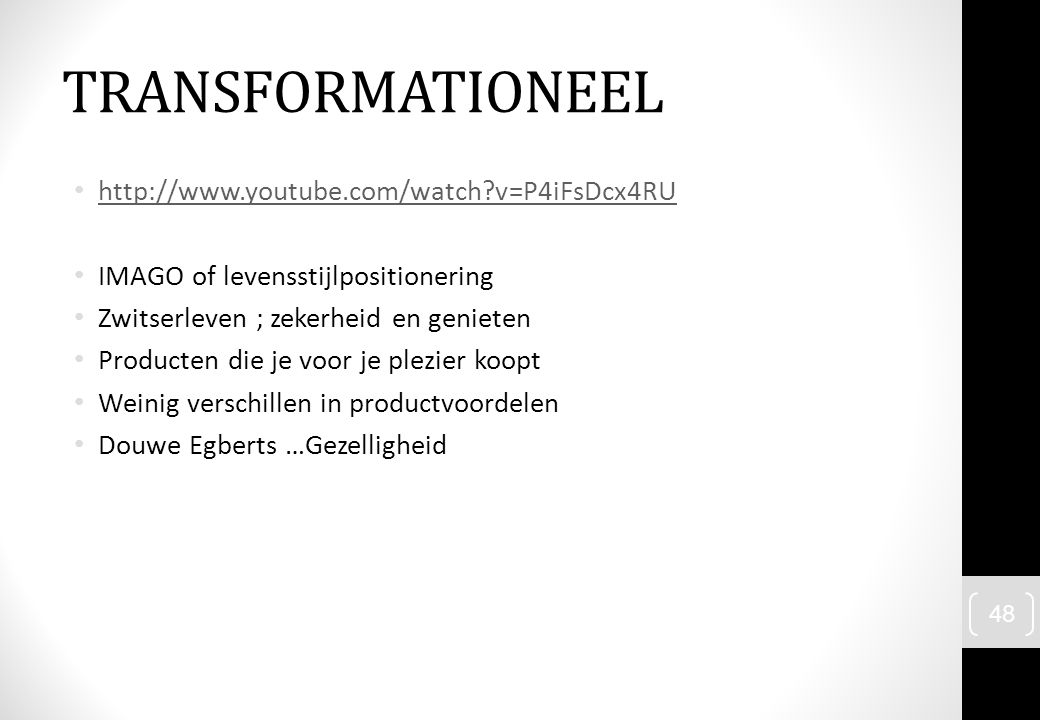 TRANSFORMATIONEEL http://www.youtube.com/watch v=P4iFsDcx4RU