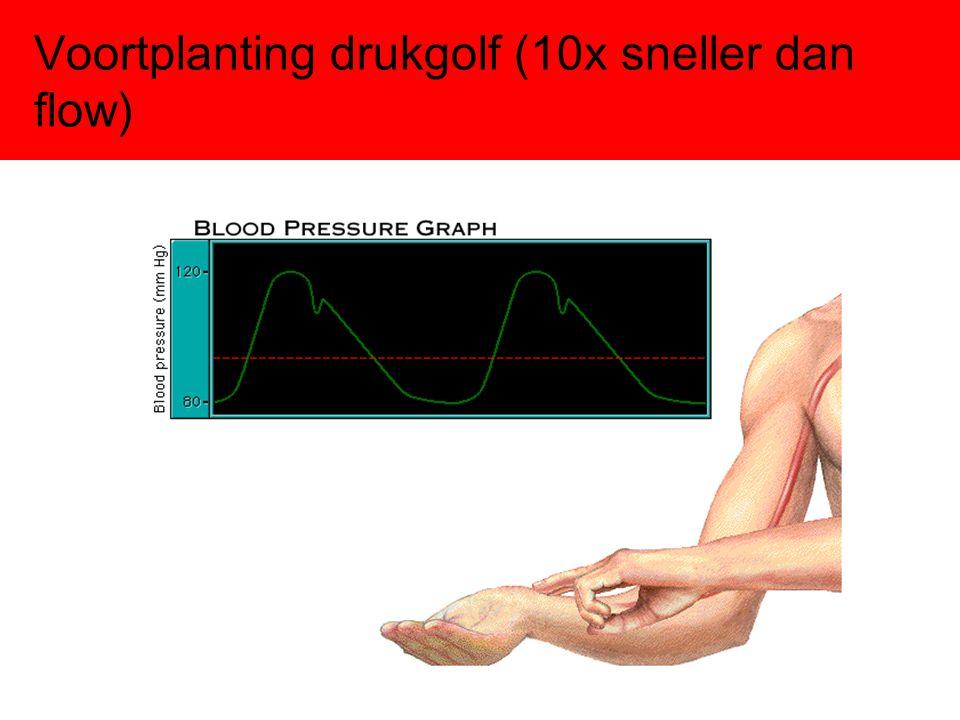 Voortplanting drukgolf (10x sneller dan flow)