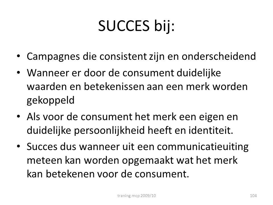 SUCCES bij: Campagnes die consistent zijn en onderscheidend