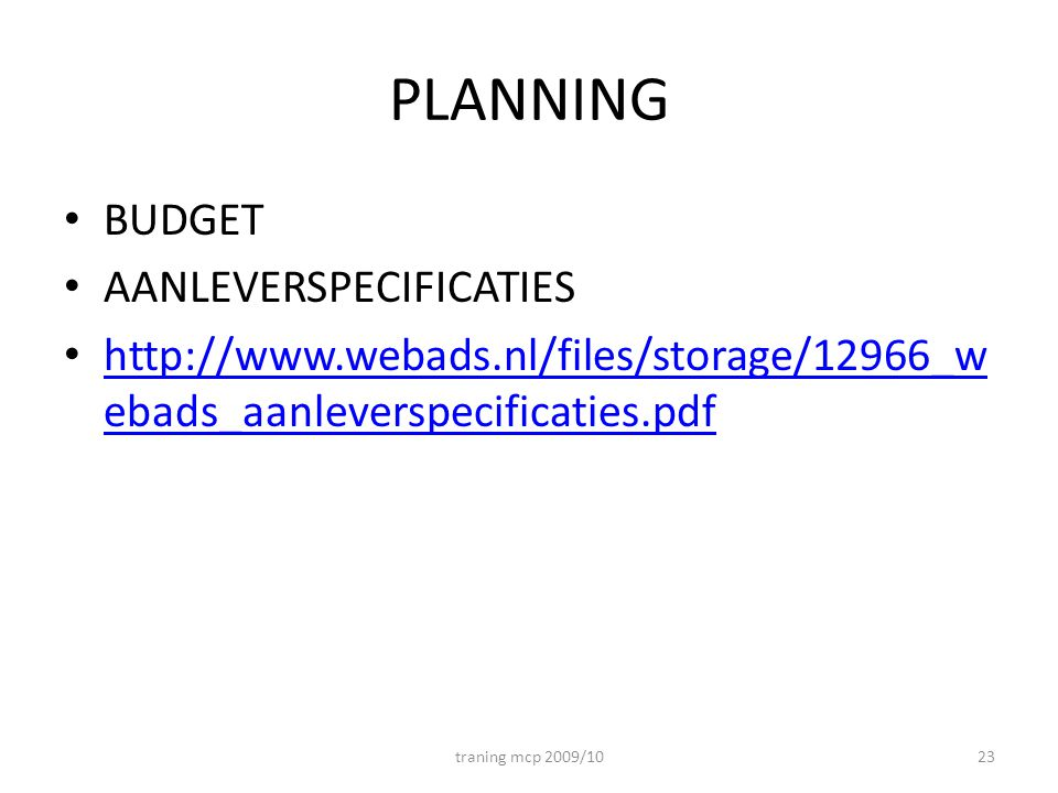 PLANNING BUDGET AANLEVERSPECIFICATIES