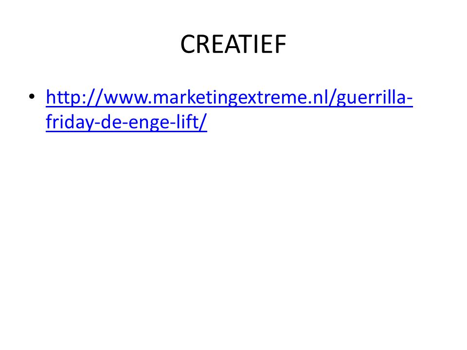 CREATIEF http://www.marketingextreme.nl/guerrilla-friday-de-enge-lift/