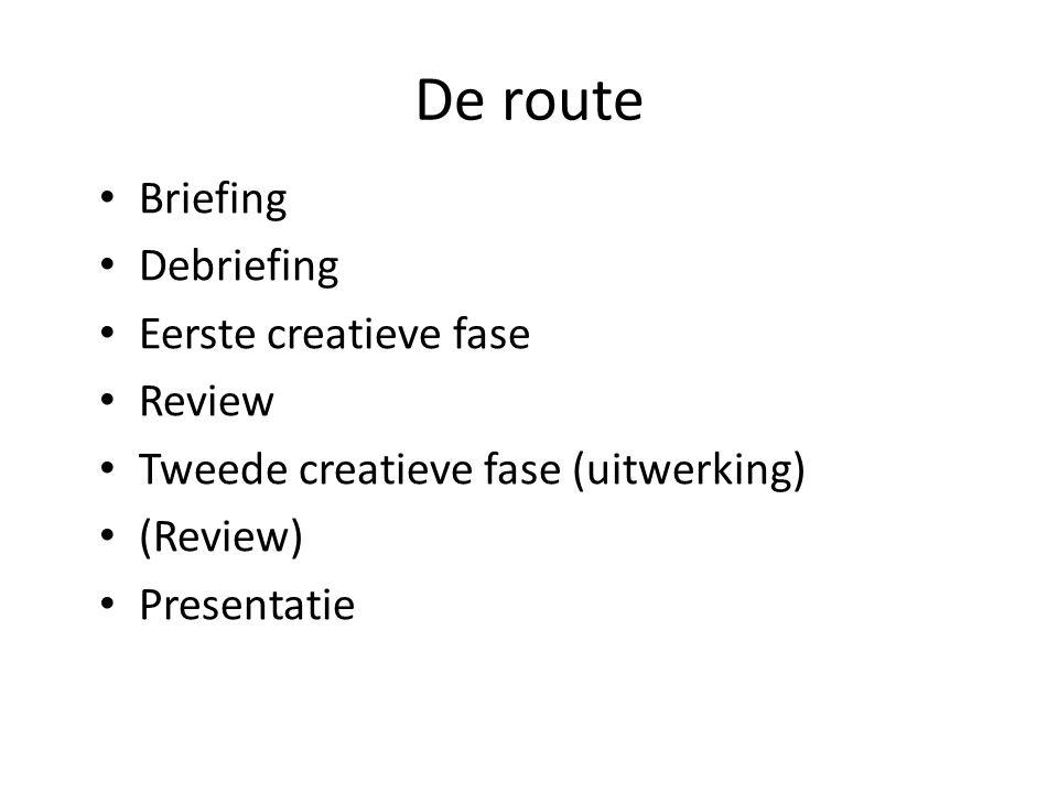 De route Briefing Debriefing Eerste creatieve fase Review