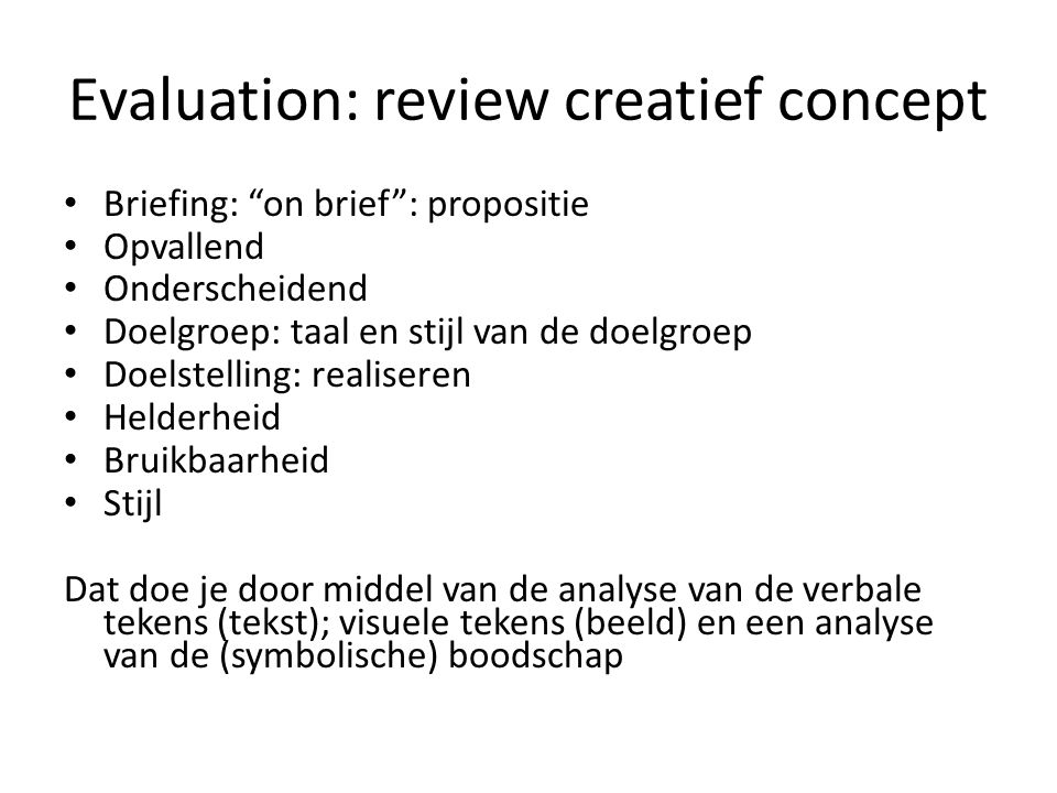 Evaluation: review creatief concept