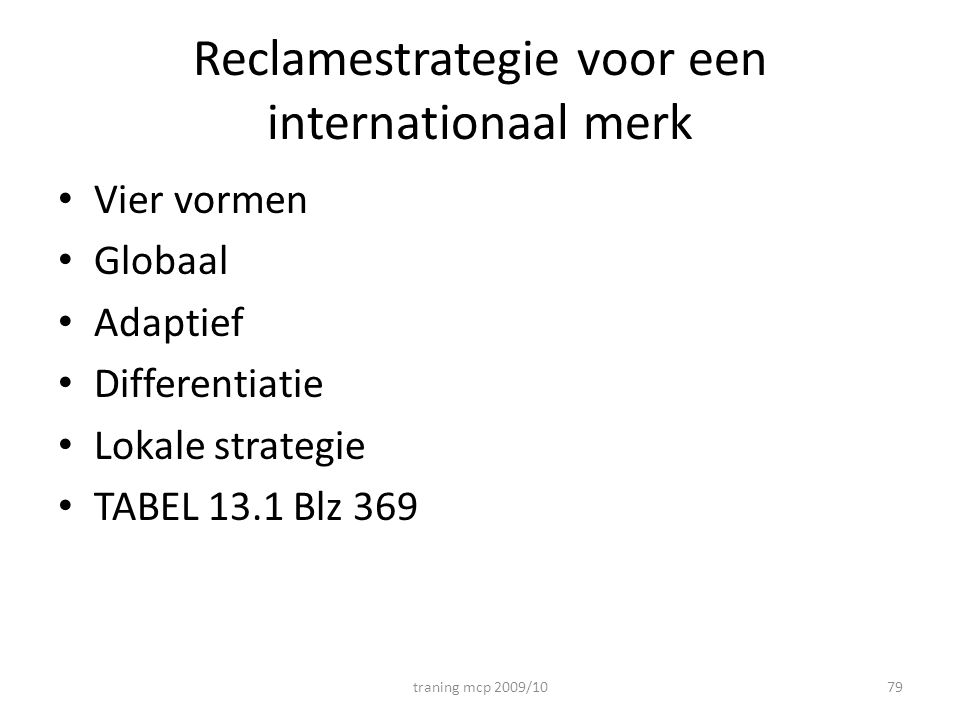 Reclamestrategie voor een internationaal merk