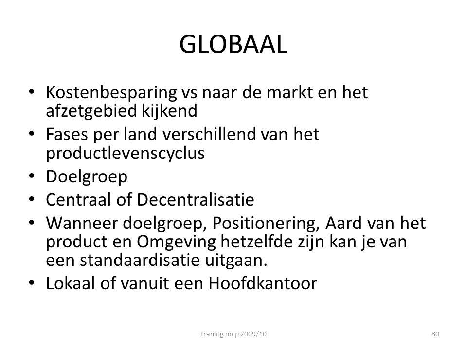 GLOBAAL Kostenbesparing vs naar de markt en het afzetgebied kijkend