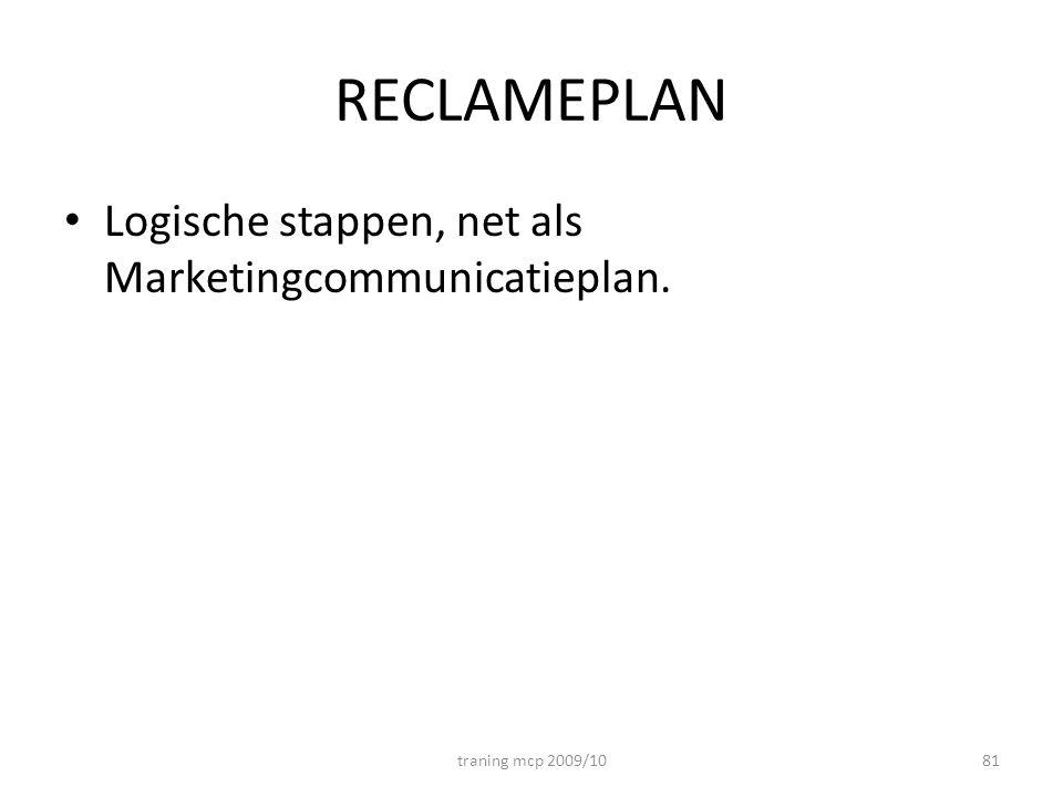 RECLAMEPLAN Logische stappen, net als Marketingcommunicatieplan.