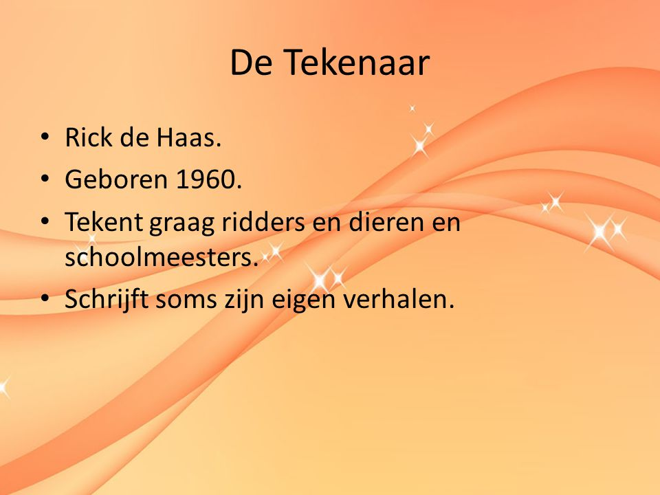 De Tekenaar Rick de Haas. Geboren 1960.