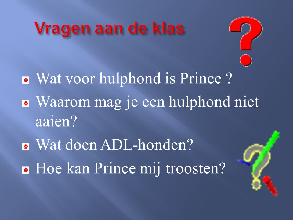 Vragen aan de klas Wat voor hulphond is Prince