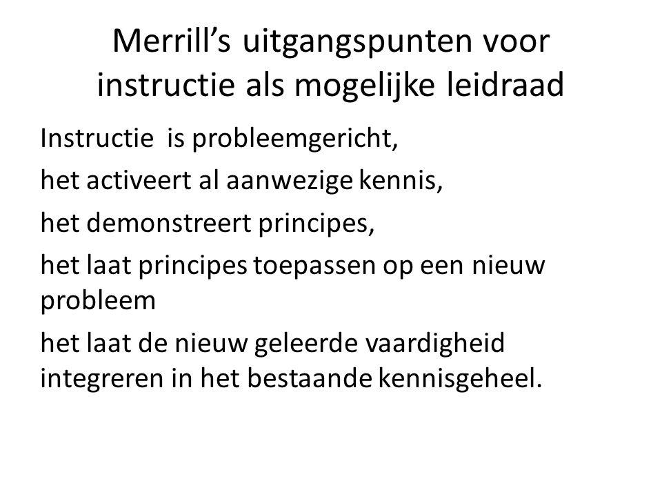 Merrill's uitgangspunten voor instructie als mogelijke leidraad