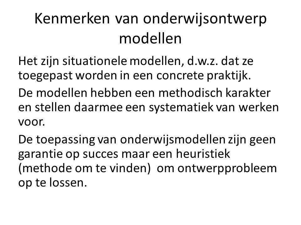 Kenmerken van onderwijsontwerp modellen
