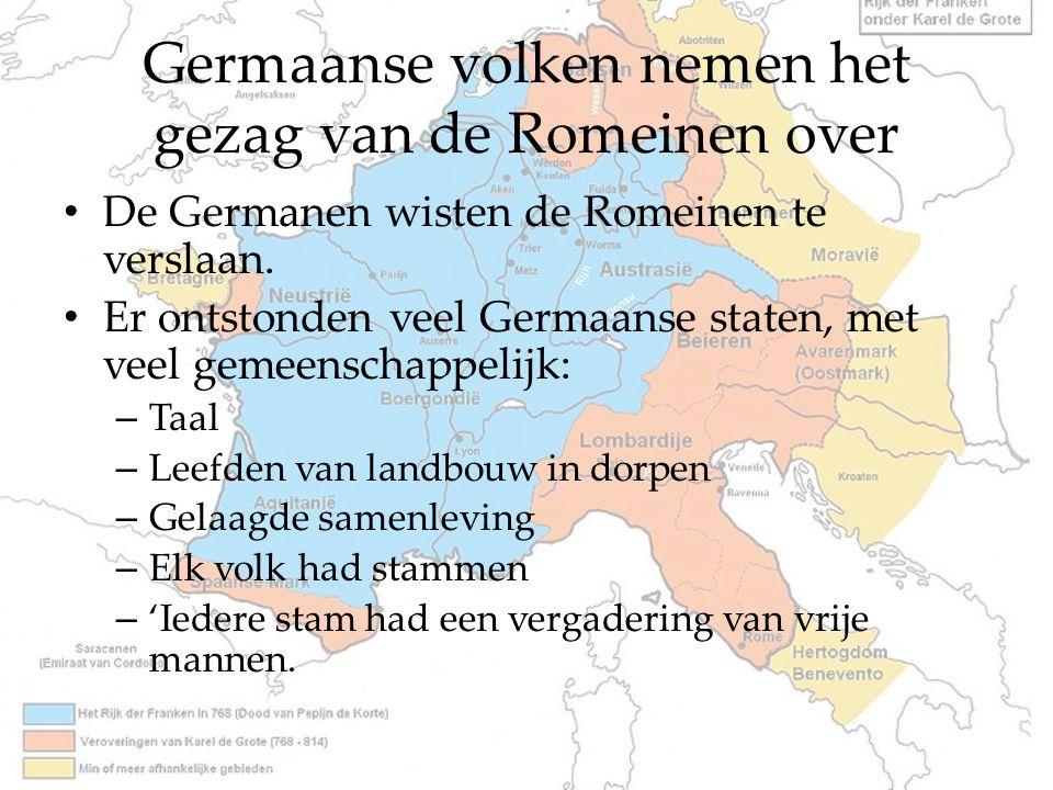 Germaanse volken nemen het gezag van de Romeinen over