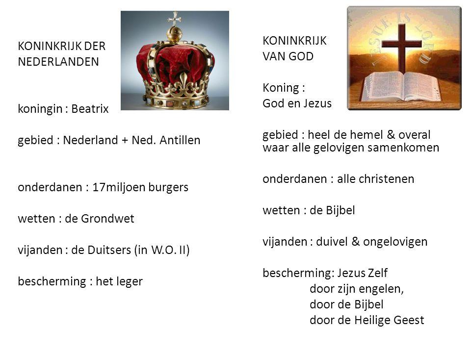 KONINKRIJK DER NEDERLANDEN koningin : Beatrix gebied : Nederland + Ned. Antillen onderdanen : 17miljoen burgers wetten : de Grondwet vijanden : de Duitsers (in W.O. II) bescherming : het leger