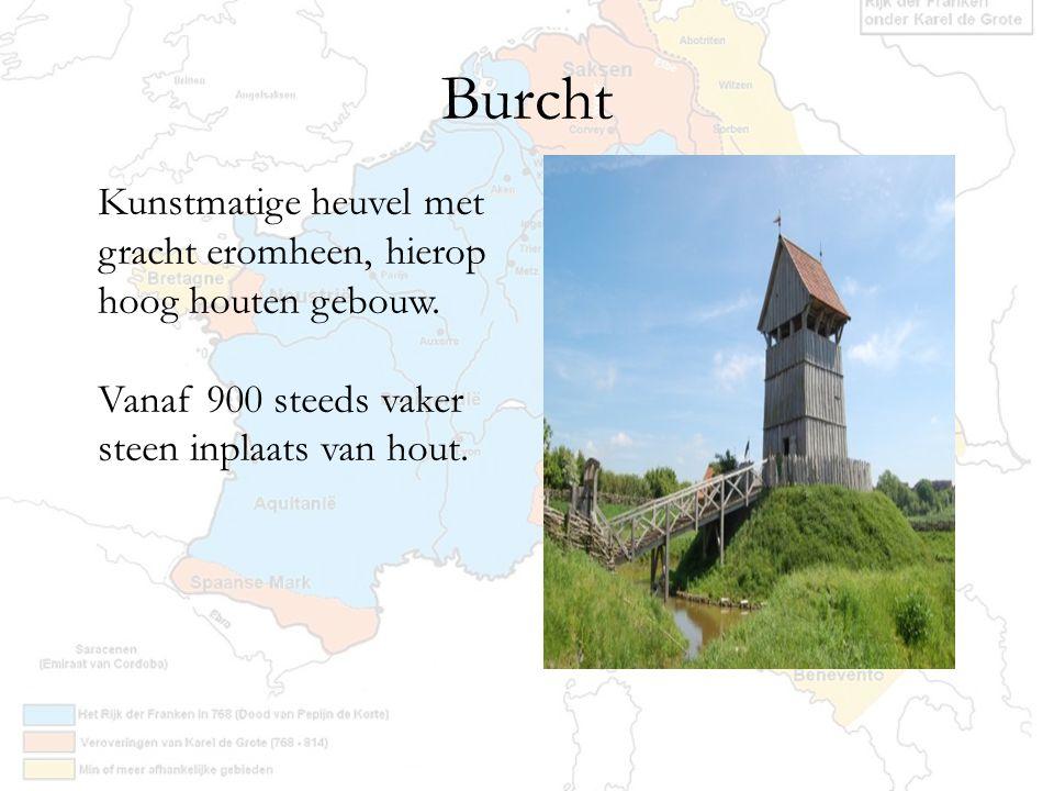 Burcht Kunstmatige heuvel met gracht eromheen, hierop hoog houten gebouw.