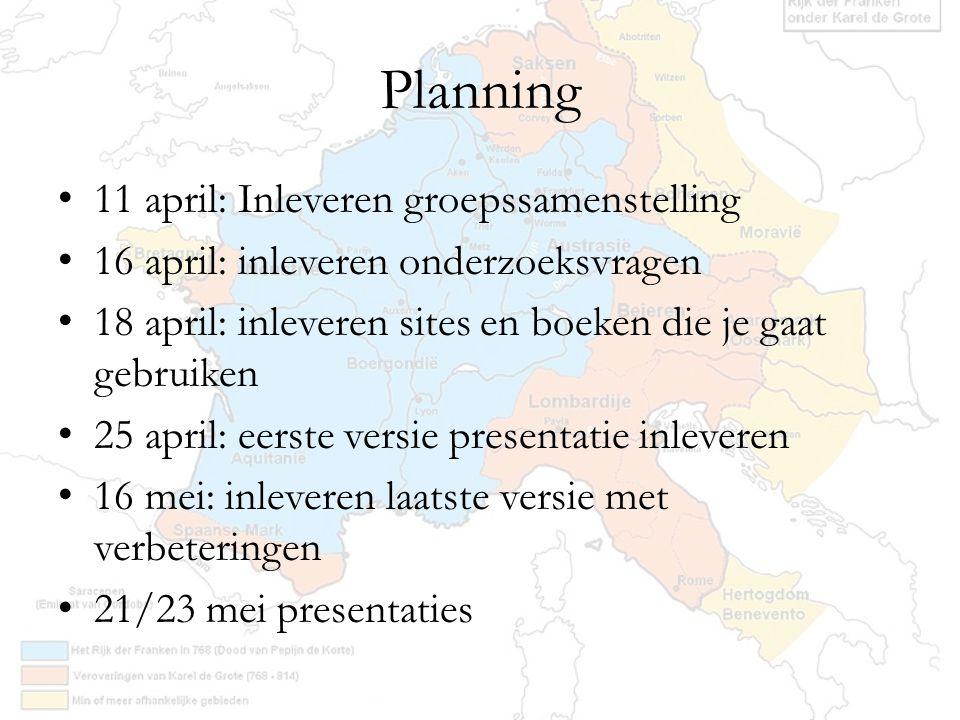 Planning 11 april: Inleveren groepssamenstelling