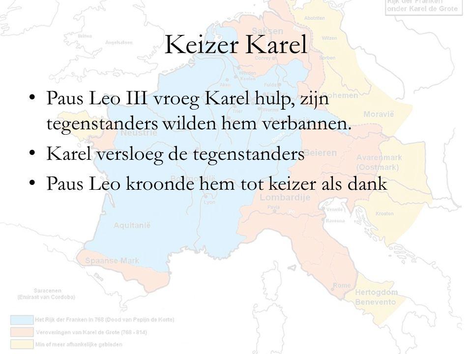 Keizer Karel Paus Leo III vroeg Karel hulp, zijn tegenstanders wilden hem verbannen. Karel versloeg de tegenstanders.