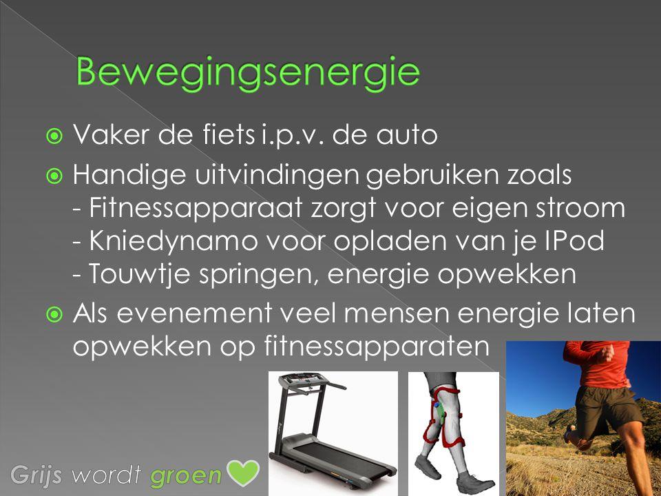 Bewegingsenergie Vaker de fiets i.p.v. de auto