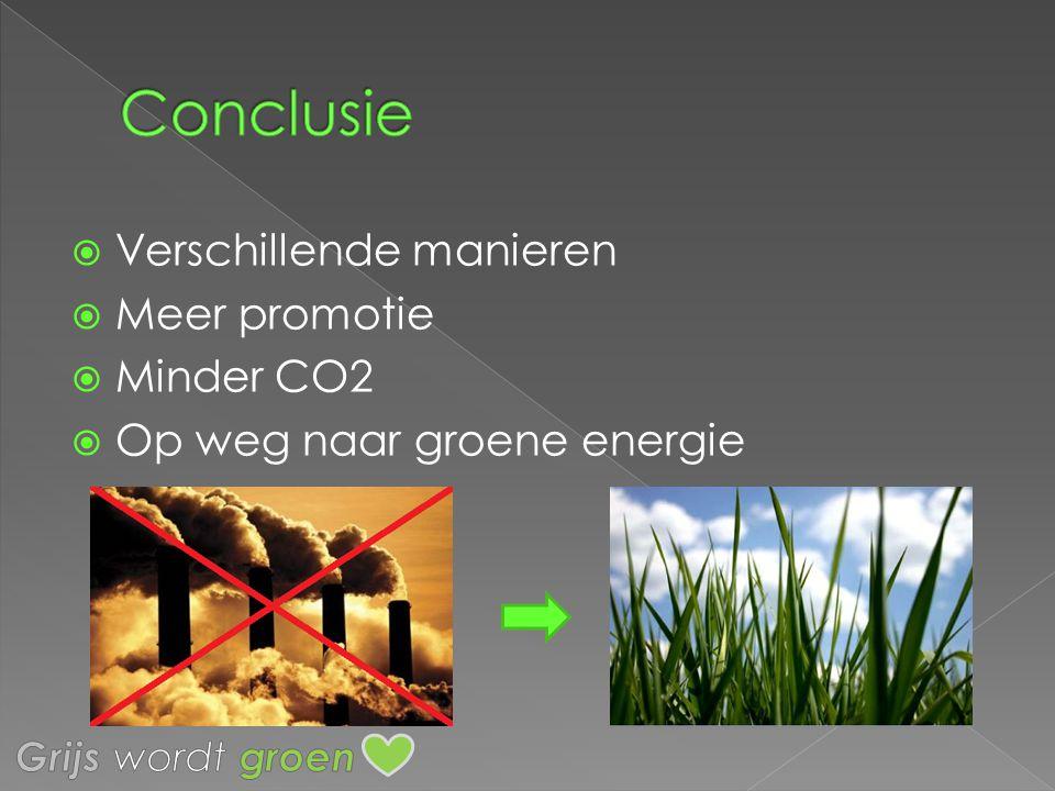 Conclusie Verschillende manieren Meer promotie Minder CO2