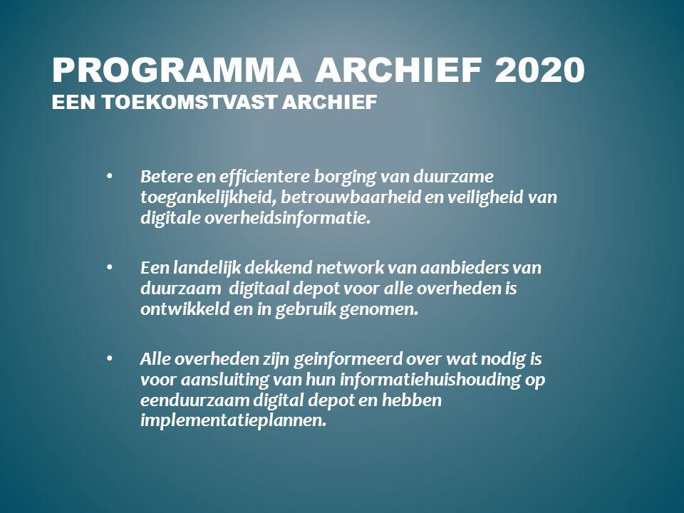 Programma Archief 2020 Een toekomstvast archief