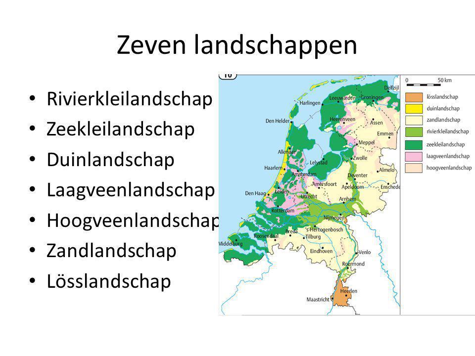 Zeven landschappen Rivierkleilandschap Zeekleilandschap Duinlandschap