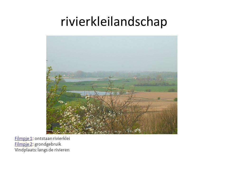 rivierkleilandschap Filmpje 1: ontstaan rivierklei Filmpje 2: grondgebruik Vindplaats: langs de rivieren