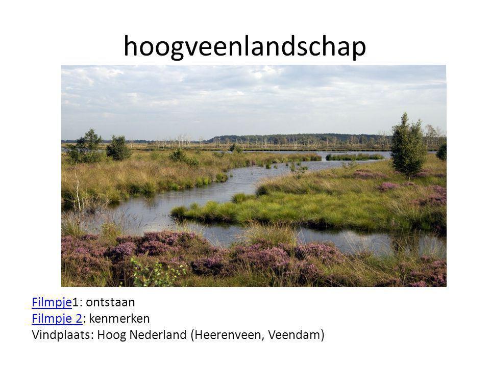 hoogveenlandschap Filmpje1: ontstaan Filmpje 2: kenmerken Vindplaats: Hoog Nederland (Heerenveen, Veendam)